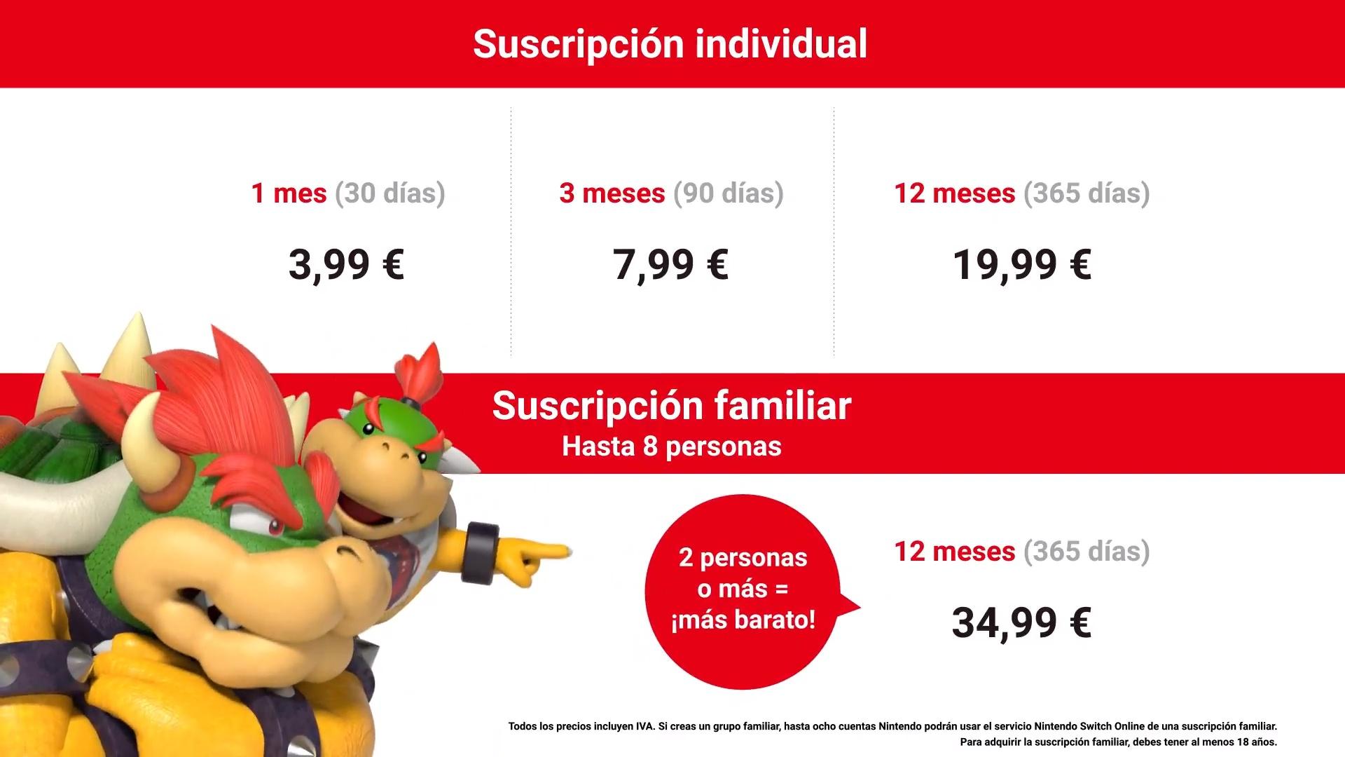 Opciones de suscripción Nintendo Switch Online