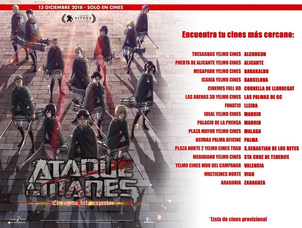 Ataque a los Titanes: El rugido del despertar imagen destacada lista cines España
