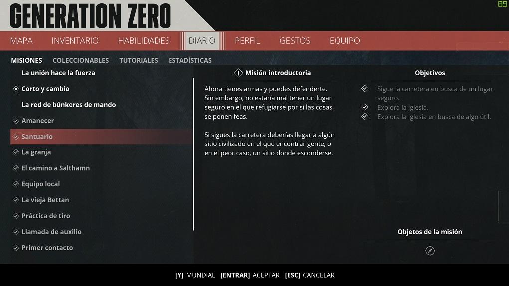 Generation Zero - Rol de mesa, habilidades e inventario 1