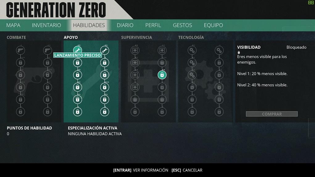 Generation Zero - Rol de mesa, habilidades e inventario 2