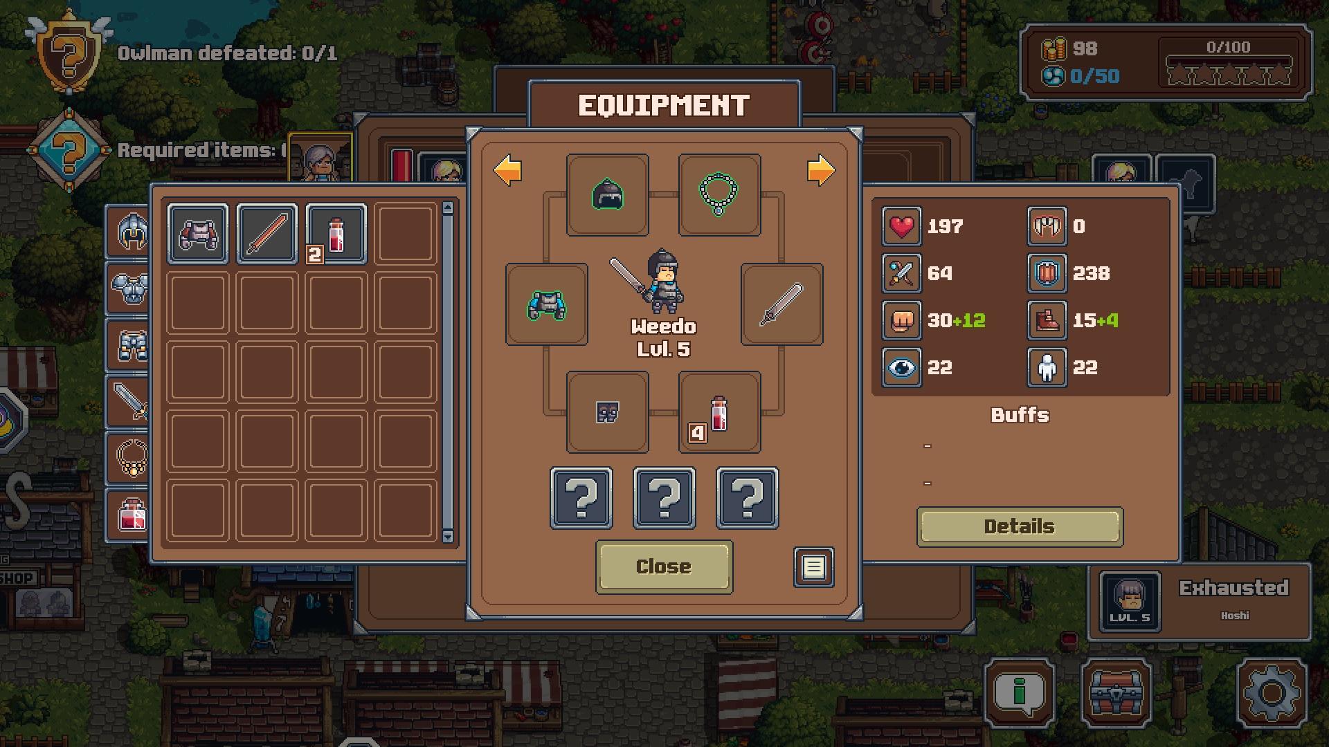 En este menú podremos equipar a nuestro personaje con todo tipo de objetos para el combate.