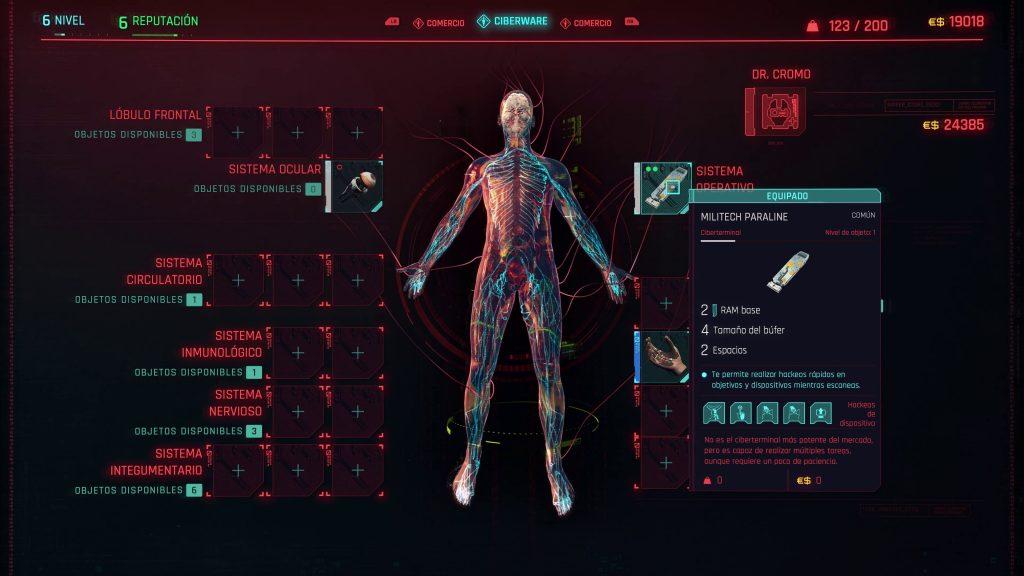 Cyberpunk 2077 - Menú de personalización